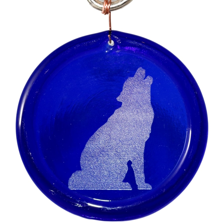 Howling Wolf Suncatcher Etched