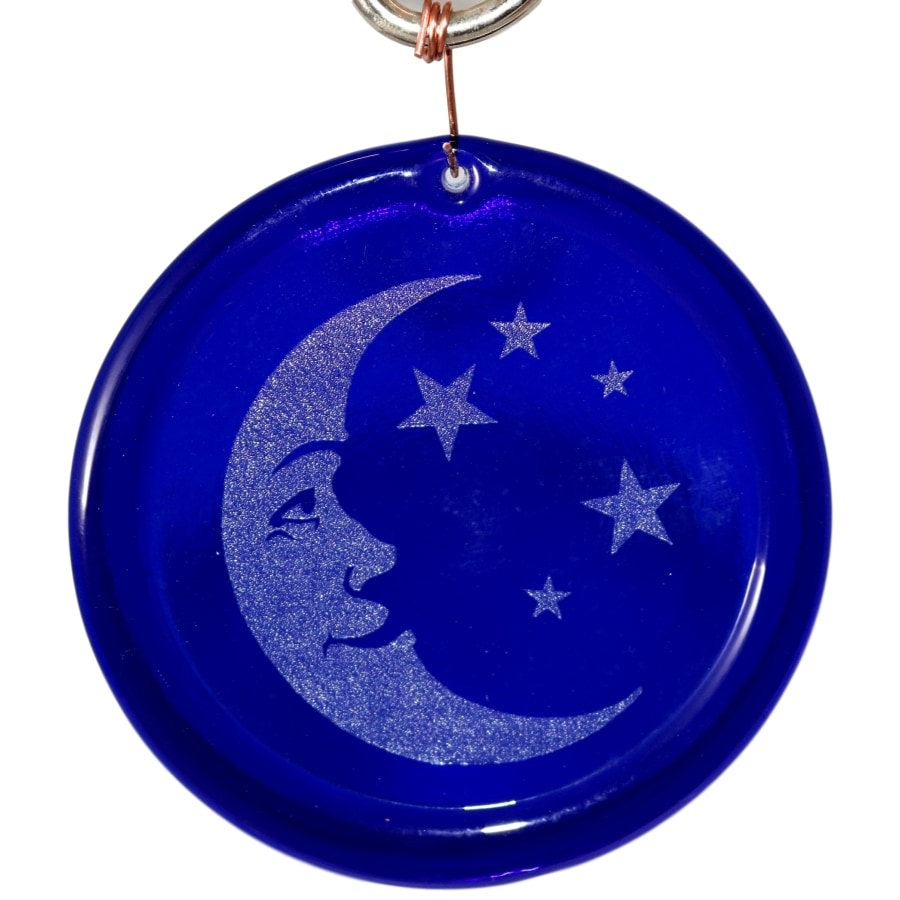 Etched Moon and Stars Suncatcher